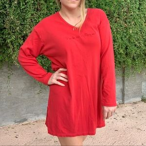 Victoria's Secret Red Long Sleeve Sleep Shirt